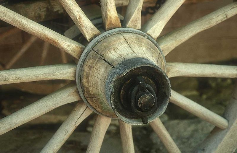 Wooden wheel with spokes